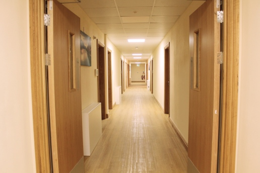 Wide hallways and spacious communal areas allow maximum access and provide a calm environment